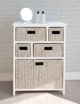Tetbury Storage unit with whitewash drawers