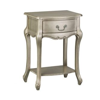 Juliette Tarnished Silver Bedside Table with Drawer – French Style