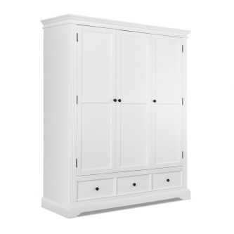 White 3 Door Triple Wardrobe – Hamptons Style