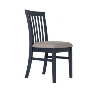 Navy blue high back upholstered kitchen and dining chair