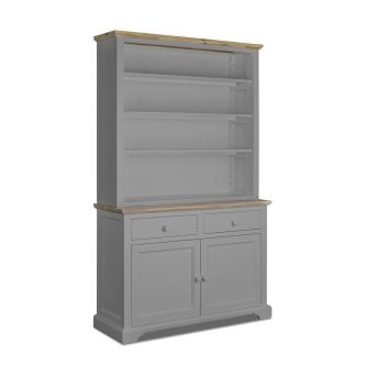Large dresser with shelving in Dove Grey for Kitchens and dining rooms.