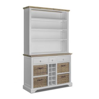 A white kitchen dresser with Shelves, Baskets and Wine Rack.