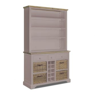 A truffle kitchen dresser with Shelves, Baskets and Wine Rack.