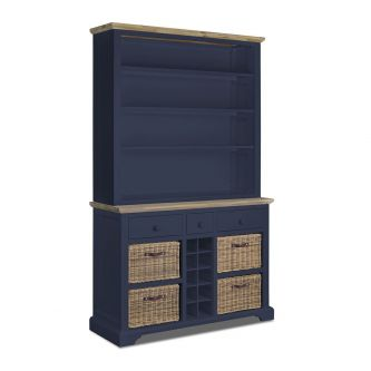 A navy blue kitchen dresser with Shelves, Baskets and Wine Rack.