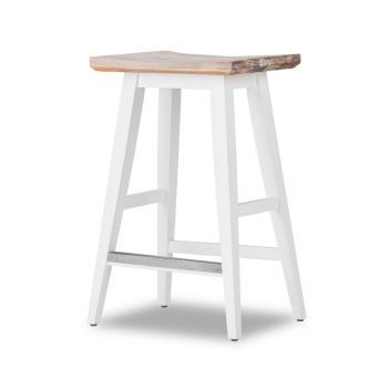 White wood bar stool for kitchen side view
