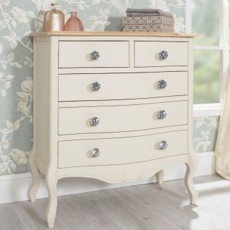 Juliette Champagne Shabby Chic Chest of 5 Drawers with Crystal Handles
