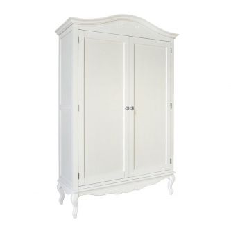 White Double Wardrobe with Crystal Handles