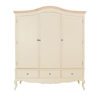 Champagne Triple Freestanding Wardrobe with Crystal Handles