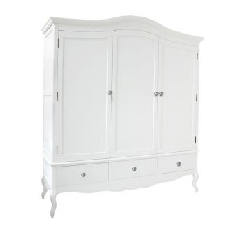 White Triple Freestanding Wardrobe with Crystal Handles