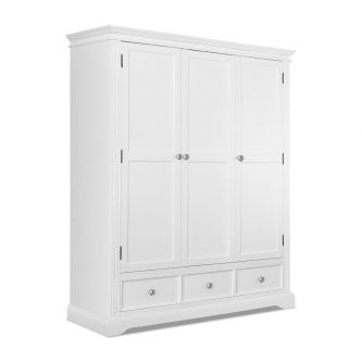 White Triple Wardrobe with 3 Drawers and Crystal Handles