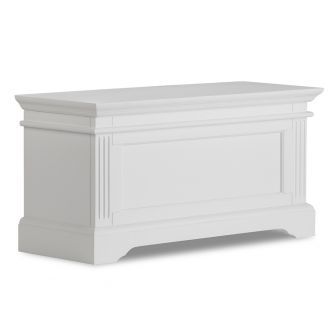A white blanket storage box