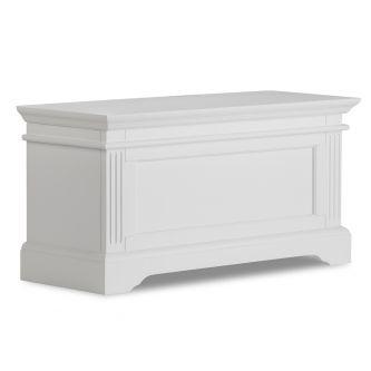A white blanket storage box