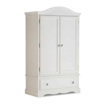 Antique White Wardrobe with Deep Drawer and Crystal Handles