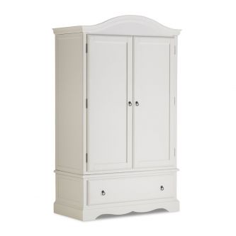 Antique White Double Wardrobe with Deep Drawer