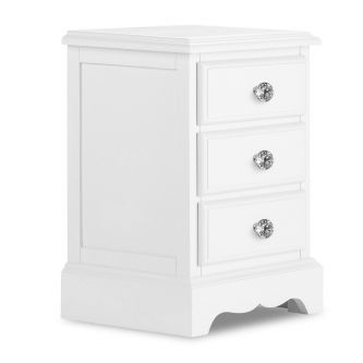 Romance True White  3 Drawer Bedside Table with Crystal Handles – French Style