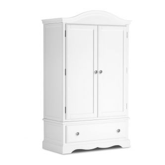 True White Double Wardrobe with Deep Drawer with Crystal Handles