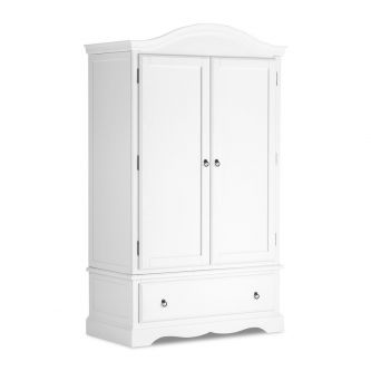 True White Double Wardrobe with Deep Drawer