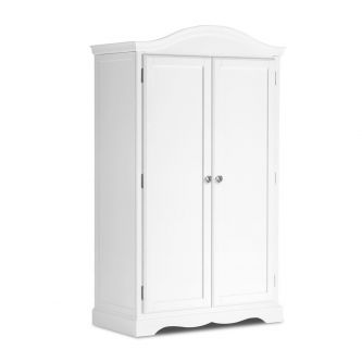 True White 2 Door Full Hanging Wardrobe with Crystal Handles