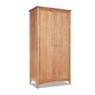 Oak 2 Door Full Length Wardrobe with Shelf