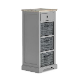 Florence Tallboy with Drawer and 3 Storage Baskets - Dove Grey