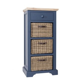 Florence Tallboy with Drawer and 3 Storage Baskets - Navy Blue