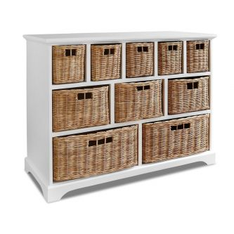 Large Tetbury White Wooden Storage Unit With 10 Wicker Baskets