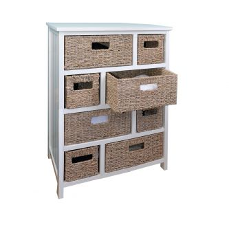 Tetbury Large Chest of Drawers with Whitewash Baskets