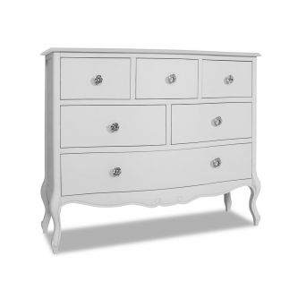 Juliette White 6 Drawer Chest with Crystal Handles  (100x81)
