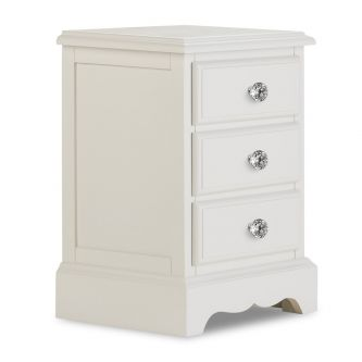 Romance Antique Withe 3 Drawer Bedside Table with Crystal Handle –French Styles