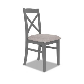 Dove grey cross back upholstered kitchen and dining chair
