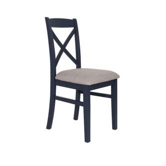 Navy blue cross back upholstered kitchen and dining chair