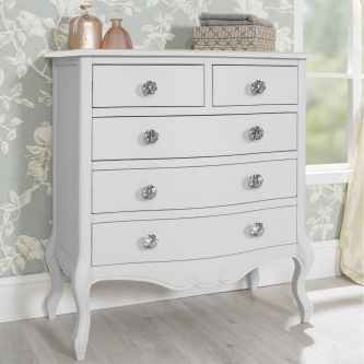 Juliette White 5 Drawer Chest with Crystal Handles