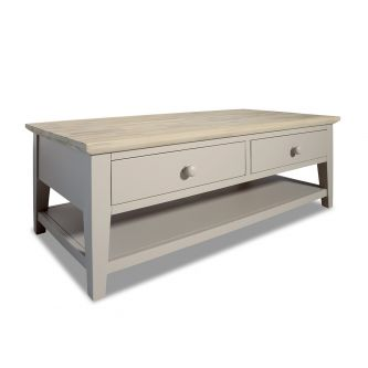 Florence Truffle Coffee Table with 2 Drawers and Storage Shelf