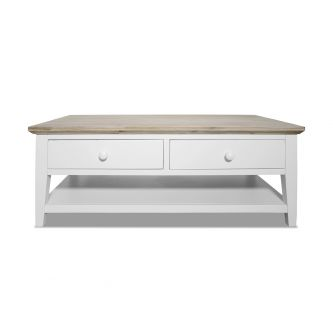 Florence White Coffee Table with 2 Drawers and Storage Shelf
