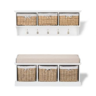 Tetbury large white hanging shelf and bench set with 3 natural baskets