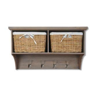 Tetbury Acacia Coat Rack with 2 baskets
