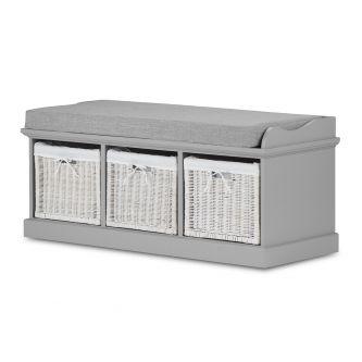 Tetbury Grey Storage Bench with 3 White Baskets