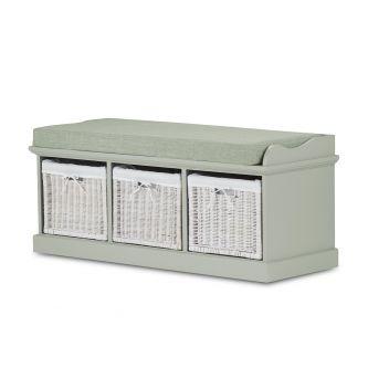 Tetbury Sage Green Storage Bench with 3 White Baskets