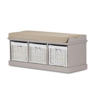 Tetbury Truffle Storage Bench with 3 White Baskets