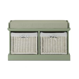 Tetbury Sage Green Bench with 2 White Storage Baskets