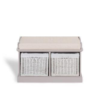 Tetbury Truffle Bench with 2 White Storage Baskets