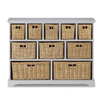 Tetbury Skimming Stone Wide Storage Chest with Wicker Baskets