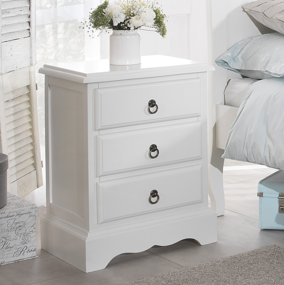 Details about Romance white bedside table, french bedside cabinet 9dr,  Quality FULLY ASSEMBLED