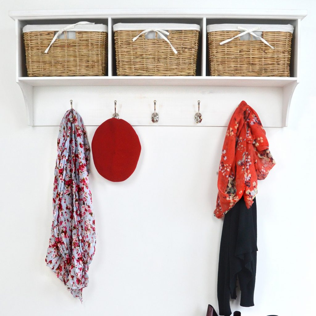 Tetbury White Coat Hanger With 3 Natural Wicker Baskets