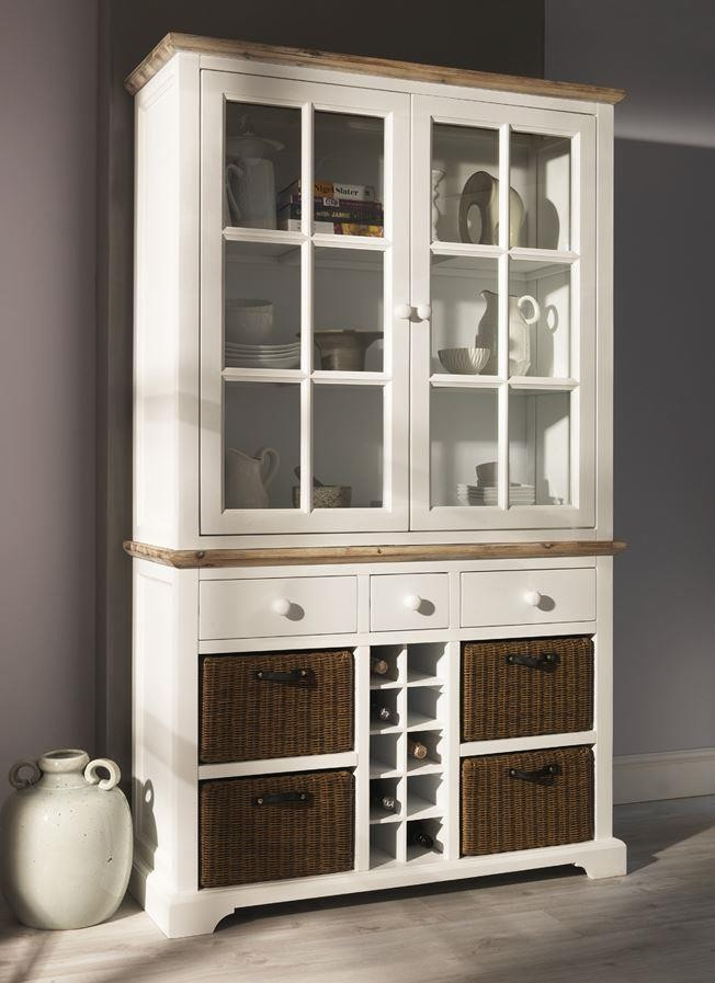 Florence White Display Cabinet with Wine Rack